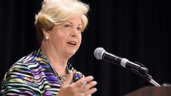 Retired Tennessee women's athletic director emeritus Joan Cronan speaks to the Nashville Cable women's leadership group at Sheraton Music City Hotel July 13, 2016 in Nashville, Tenn.