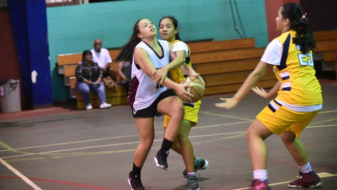 In this file photo, players in the Guam Youth Basketball Association league compete at the Astumbo Gym.