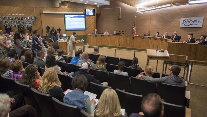 People pack City Council chambers at Fort Collins City Hall in this 2015 file photo.