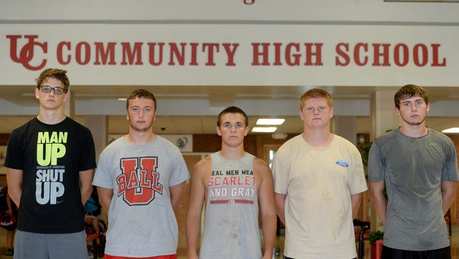 Union City High School football players Rawlin Mills, left, Isaac Jefferis, Hayden Downey, Kayled Leedom and Tyler Thornhill.
