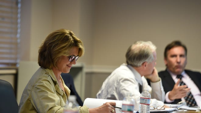 Williamson County School Board member Susan Curlee  during a work study meeting on July 16, 2015.