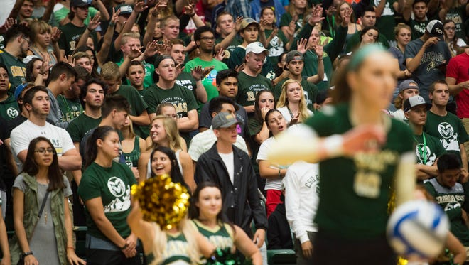 Students support the Rams before outside hitter Sanja Cizmic serves the ball ina game against North Dakota State at Moby Arena Friday, August 26, 2016.