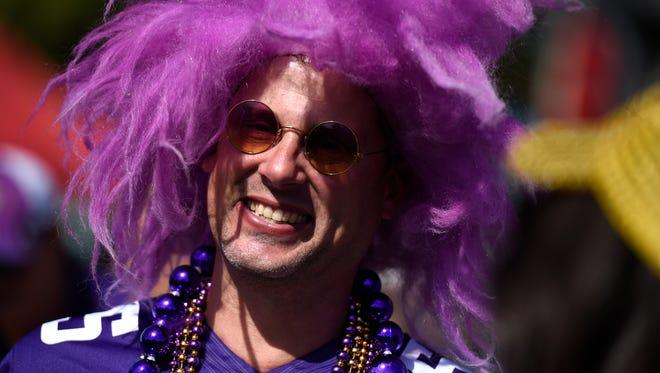 Mike Anderson of Detroit Lakes, Minn., shows his Vikings spirit before the Titans home opener at Nissan Stadium Sunday Sept. 11, 2016, in Nashville, Tenn.