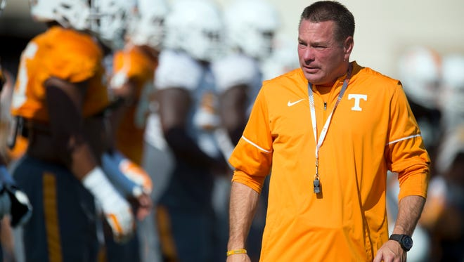 Tennessee head coach Butch Jones during practice on Tuesday, September 13, 2016. (SAUL YOUNG/NEWS SENTINEL)
