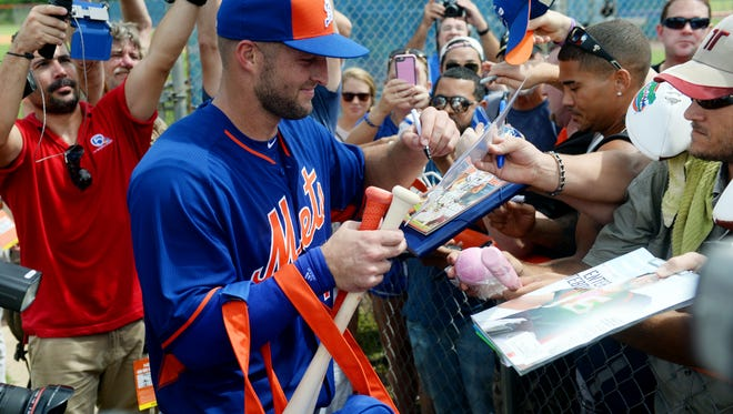 Images of Tim Tebow during his first practice with the New York Mets Instructional League at Tradition Field in Port St. Lucie, Monday, Sept. 19, 2016. Tebow, 29, announced in August that he planned to pursue a career in baseball and was signed by the Mets eight days after an open workout.