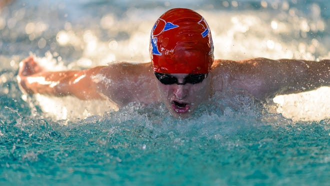 Riverside sophomore Jacob Hammond competes in the butterfly during a Sept. 6 meet at Middle Tyger YMCA. Hammond and the Riverside teams will be trying for their fourth consecutive state championships at Friday's state meet in Columbia.