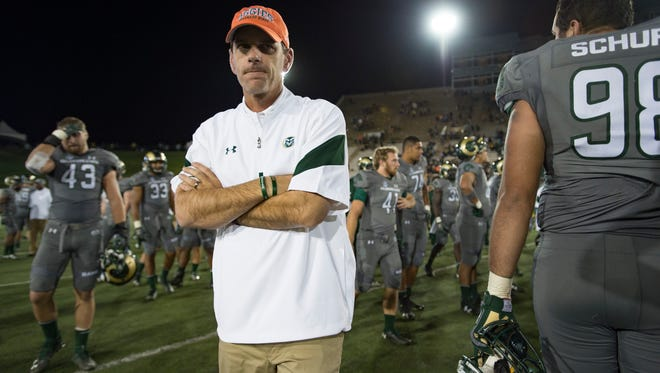 CSU coach Mike Bobo was clearly disappointed as he walked off the field Saturday at Hughes Stadium after a 38-17 loss to Wyoming that dropped his team to 2-3.