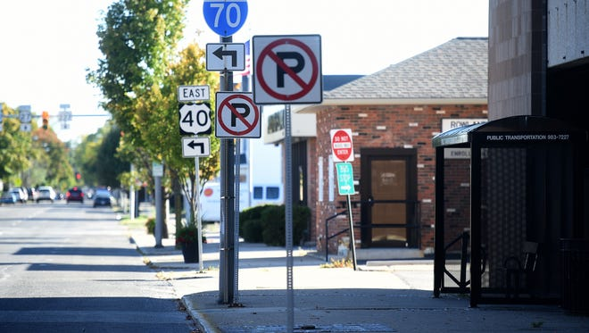 """""""No parking"""" signs in downtown Richmond."""