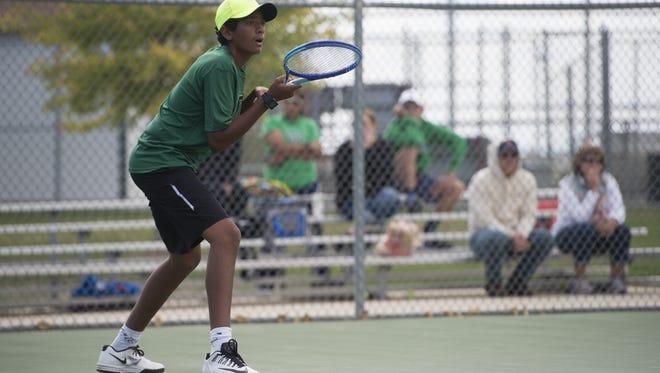 Fossil Ridge High School freshman Akhil Gupta competes in a regional match last week. Gupta has advanced to Saturday's state championship match at No. 3 singles.