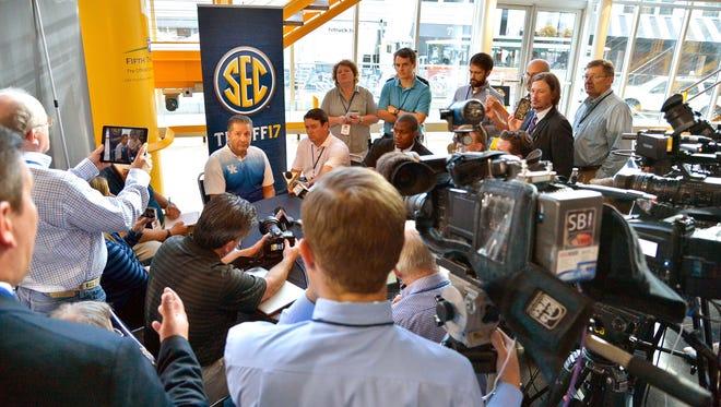 Oct 19, 2016; Nashville, TN, USA; Kentucky head coach John Calipari is surrounded by media during SEC Tipoff at Bridgestone Arena. Mandatory Credit: Jim Brown-USA TODAY Sports