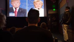 People watch the final presidential debate at the Lyric