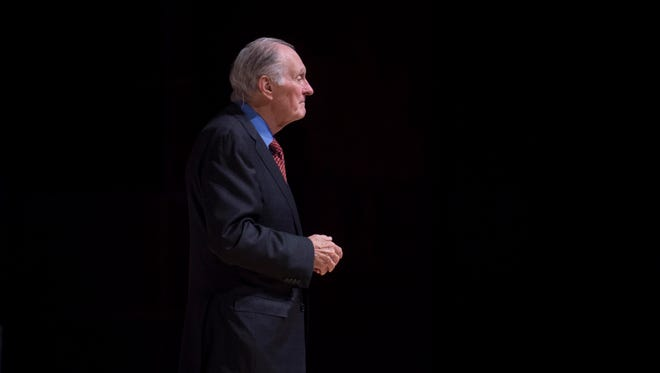 Alan Alda speaks at the University of Tennessee's Alumni Auditorium on Tuesday, November 1, 2016 as part of the Ken and Blaire Mossman Distinguished Lecture series. Alda spoke on the importance of communication, specifically in the fields of science and the need for scientist and professionals to tell stories more effectively as a way to engage the public.