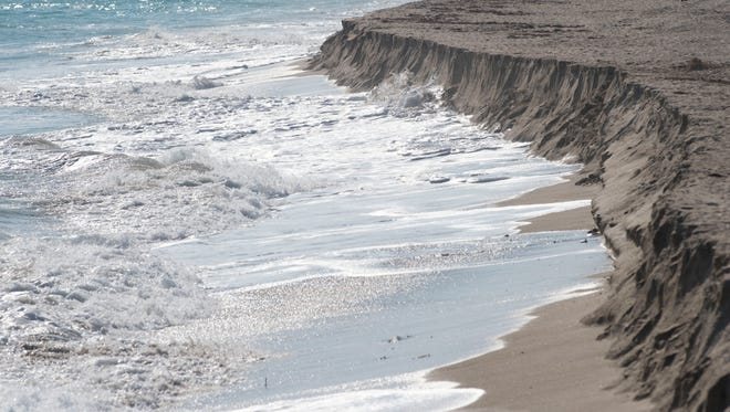 Despite the completion of Martin County's $5.3 million renourishment project earlier this year, Bathtub Beach on South Hutchinson Island, seen  Nov. 17, 2016, is suffering from extreme sand erosion following Hurricane Matthew and high winds.
