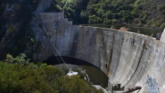 The 198-foot-tall Matilija Dam holds an estimated 8 million cubic yards of sediment in Matilija Creek near Ojai.