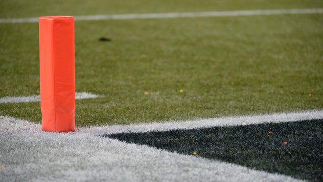 Jan 19, 2014; Seattle, WA, USA; General view of the end zone pylon with Skittles on the field after a Seattle Seahawks running back Marshawn Lynch (24, not pictured) touchdown during the second half of the 2013 NFC Championship football game against the San Francisco 49ers at CenturyLink Field. The Seahawks defeated the 49ers 23-17. Mandatory Credit: Kyle Terada-USA TODAY Sports