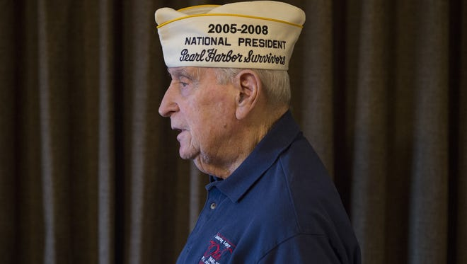 Pearl Harbor attack survivor Mal Middlesworth, 93, poses for a portrait on Friday, December 2, 2016. The U.S. Marine Corps veteran was stationed on the USS San Francisco at the time of the attack in 1941.
