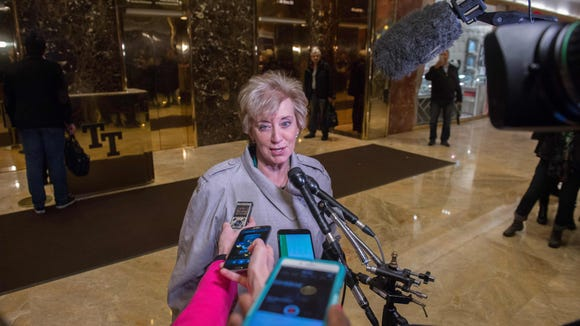 Linda McMahon speaks to the media at Trump Tower on Nov. 30, 2016, in New York City.