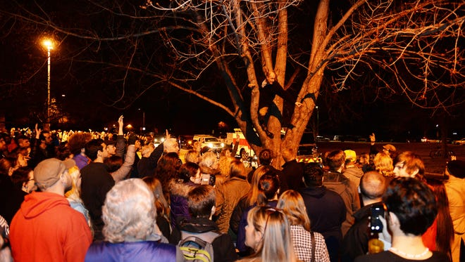 Hundreds caucus outside Lincoln Middle School on Tuesday, March 1, 2016. About 1500 people showed up but the room capacity was 324.