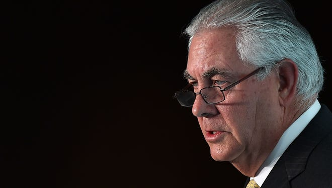 In a file photo taken Oct. 7, 2015, ExxonMobil Chairman and CEO Rex Tillerson speaks at a conference in London.