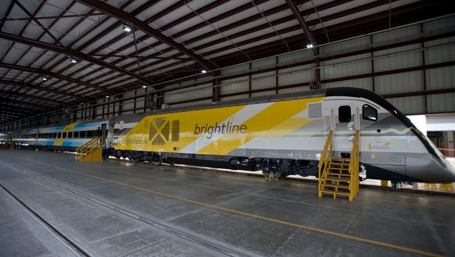 All Aboard Florida's BrightBlue train debuted Jan. 11, 2017, at Workshop b, Brightine's railroad operations facility in West Palm Beach. BrightBlue is the first of five trains that will eventually move passengers between Orlando and Miami.