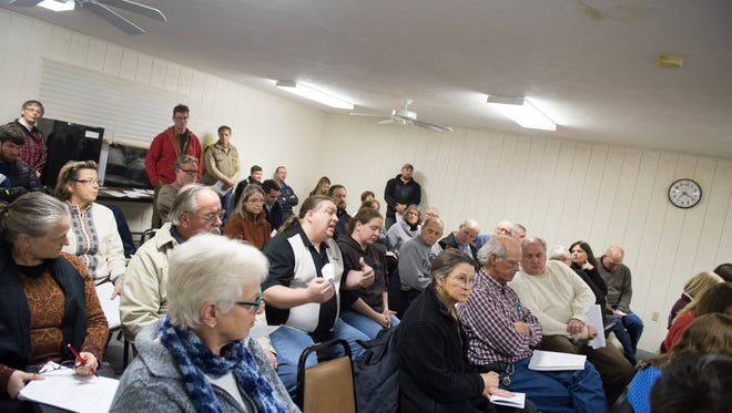 Residents express their concern over a proposal to build a casino and racetrack during a Freedom Township meeting on Thursday, Feb. 2, 2017.
