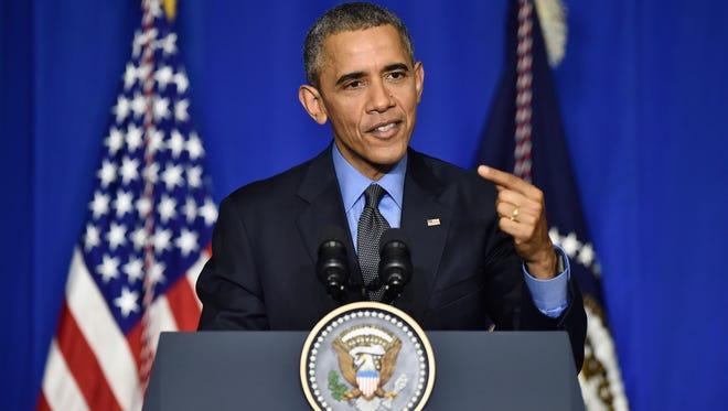 President Barack Obama makes a speech in Paris in 2015.