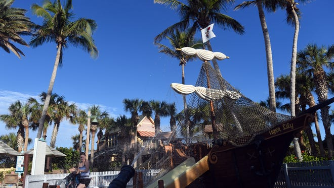 During the day, residents of Disney's Vero Beach Resort can can play together in the Atlantic Ocean or spend time in the pool complex complete with a pirate ship and 160-foot waterslide.