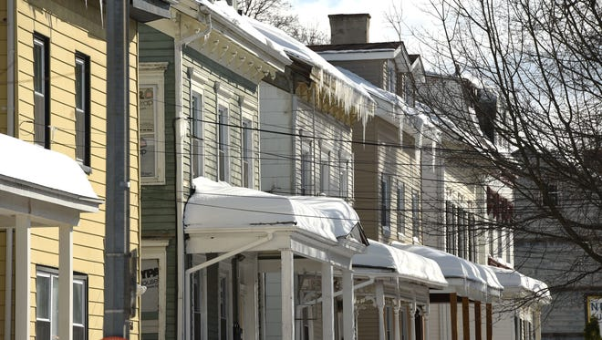 A view of a row of houses on Montgomery Street in the City of Poughkeepsie.