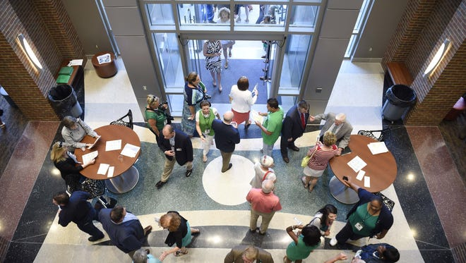 Visitors tour the campus at the grand opening of Columbia State Community College's new Williamson campus June 22, 2016 in Franklin, Tenn.