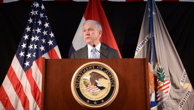 U.S. Attorney General Jeff Sessions addresses law enforcement members at the Thomas Eagleton U.S. Courthouse on March 31, 2017 in St. Louis, Missouri.