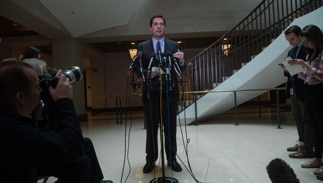 House Intelligence Chairman Devin Nunes speaks to the press about the investigation of Russian meddling in the presidential election on March 24, 2017.