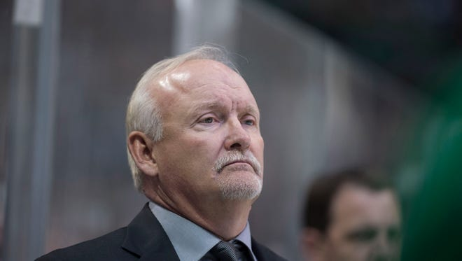 Dallas Stars head coach Lindy Ruff watches his team take on the Pittsburgh Penguins during the second period at the American Airlines Center.