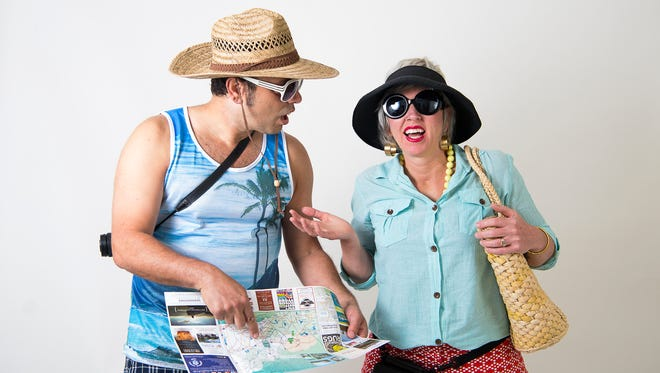 LaZoom owners Jen and Jim Lauzon act as tourists for a photo shoot.