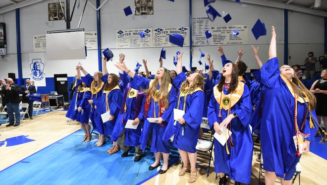 A scene from the Class of 2017 graduation at Cotter High School Saturday night.