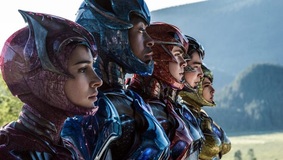 """From L to R: Naomi Scott as """"Kimberly,"""" RJ Cyler as"""