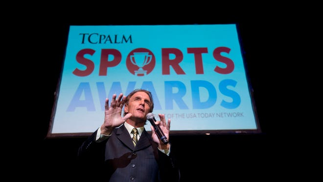 """TCPalm Sports Awards keynote speaker and former NFL quarterback Doug Flutie tells the story of his final NFL game with the New England Patriots, in which he converted a fourth-quarter drop kick, on Monday, May 22, 2017, at the Sunrise Theatre in Fort Pierce. The Melbourne Beach resident spoke about the disadvantages he faced before becoming a successful professional football player and encouraged the crowd not to give up. """"Find what motivates you on a daily basis,"""" Flutie said. """"You know what you have inside you."""""""