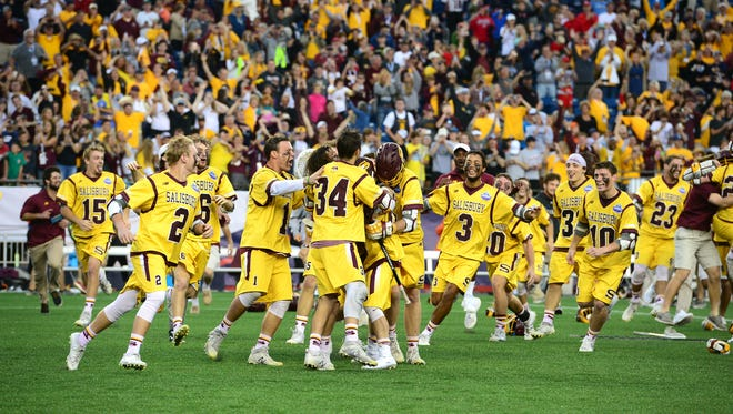 Salisbury University men's lacrosse clinches its 12th national title against Rochester Institute of Technology on Sunday, May 28, 2017 in the NCAA Division III National Championship at Gillette Stadium in Foxborough, Mass.