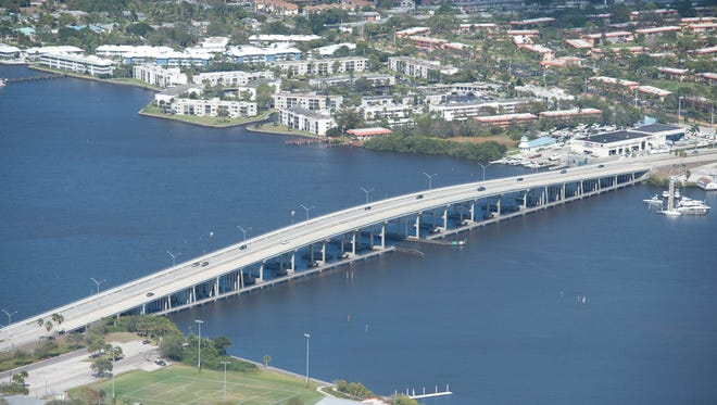 An aerial image shows the Palm City Bridge in Martin County.