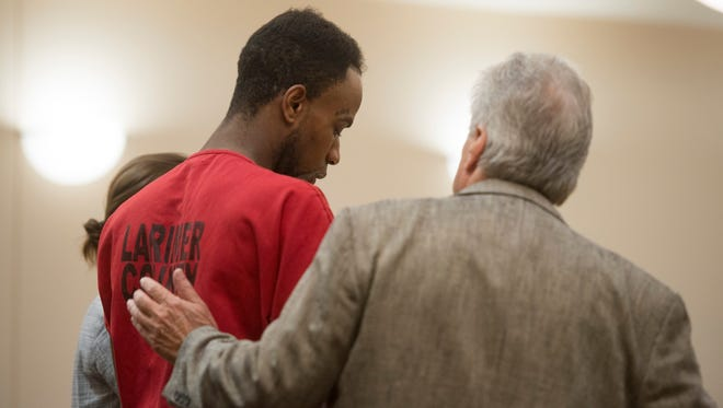 """Attorney Norman Townsend stands with Jeffery Etheridge as he makes first appearance on three charges including first degree murder, sexual assault and second degree kidnapping at Larimer County Justice Center on Friday, July 7, 2017. Charges relate to the death of Heather """"Helena"""" Hoffmann, whose body was found in Sheldon Lake on June 21."""