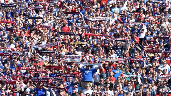 Fans are ready for the start of the CONCACAF Gold Cup soccer game at Nissan Stadium Saturday, July 8, 2017, in Nashville, Tenn.