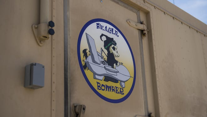 A decal is pictured on a Ground Control Station at Holloman Air Force Base, N.M. June 6, 2017. Under Col. Houston Cantwell, 49th Wing commander's initiative, Holloman's GCS yard is undergoing an artistic upgrade. This upgrade has led to the creation of 12 decals and application of 10 decals on the yard's GCSs. The decals, created in the spirit of World War II nose art, are used to raise morale among Holloman's Airmen.