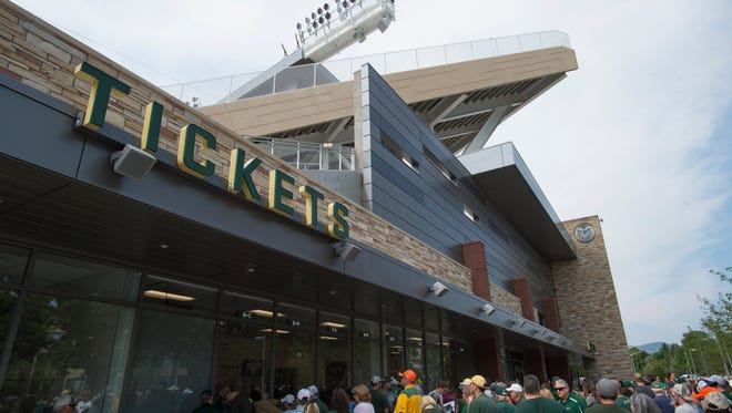 Fans attend an open house for CSU's new on-campus football stadium on Saturday, August 5, 2017. More than 20,000 Rams fans got their first look at the facility with a concessions and amenities in operation.