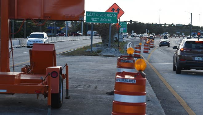 This photograph shows construction on Kanner Highway nearby the Interstate 95 interchange on Jan. 11. The state is planning more work on Kanner Highway, this time west of the I-95 interchange.