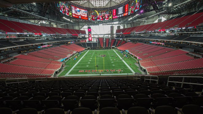 A general view of the inside of the stadium looking back at the window end in the new stadium shown during the media tour at Mercedes-Benz Stadium.