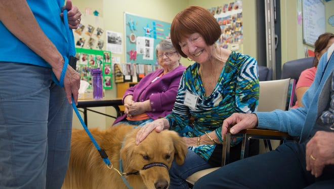 "Alzheimer's Community Care Specialized Day Center patient Mary Carden, 88, of Port St. Lucie, spends a moment with Cooper, 4, a golden retriever therapy dog, on Aug. 25, 2017, at the center at Prince of Peace Lutheran Church in Stuart. Cooper and his owner, Susie Gore, of Port St. Lucie, have been doing pet therapy for three years through the Humane Society of the Treasure Coast and patients at the center get visits from therapy dogs once a month. ""It gives them something to engage with,"" said Amy Bromhead (not pictured), development coordinator at Alzheimer's Community Care. ""It's very social for them. They're animated instantly with the dogs."""