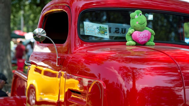 A frog stuffed animal decorates a 1948 Ford COE at the 43rd Annual Frog Follies at the Vanderburgh County 4-H Center on Saturday, August 26, 2017.
