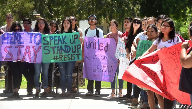 CSU Channel Islands students and staff rally in support of DACA on the day the White House announced plans to phase out the program and pushed Congress to find a solution.