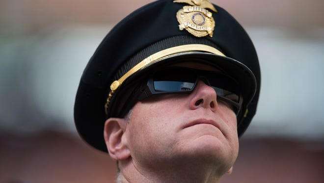 Knoxville Police Department Chief David Raush watches  the Tennessee Volunteers vs. Indiana State Sycamores game at Neyland Stadium in Knoxville, Tenn. Saturday, Sept. 9, 2017.