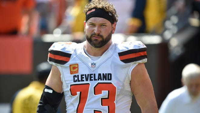 Cleveland Browns tackle Joe Thomas walks on the field during an NFL football game against the Pittsburgh Steelers, Sunday, Sept. 10, 2017, in Cleveland.