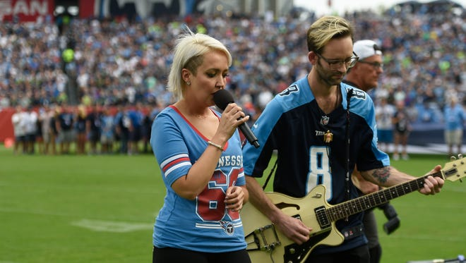 The signing of the national anthem prior to the beginning of the game at Nissan Stadium Sunday, Sept. 24, 2017 in Nashville, Tenn.